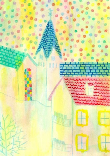 """Painting titled """"Building of country…"""" by Kiki, Original Art,"""