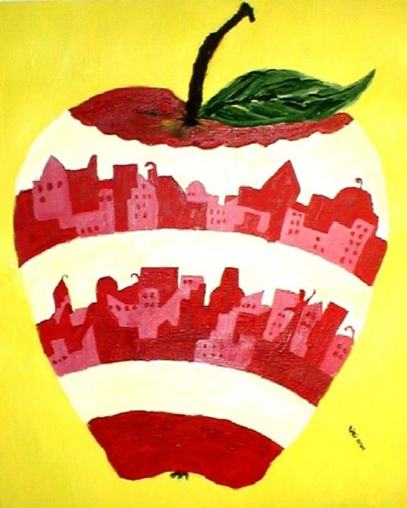 Apple World - Painting,  20x16 in, ©2003 by Kiki Poppies -                                                              apple