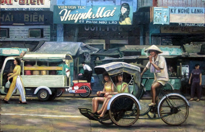 Shopping Saigon street in 70s - Painting,  140x220x3.5 cm ©2016 by Cau Vong Art Studio -                                                                        Illustration, Metal, Wood, Asia, saigon street, asia, vietnam, 70s, cyclo, ao dai