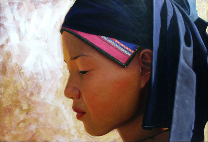 Young girl from Sapa by Trần Văn Thứ - Painting,  94x110 cm ©2015 by Cau Vong Art Studio -                                            Portraiture, Asia, portrait, woman, asia, vietnam, sapa, ethnic, gold leaf