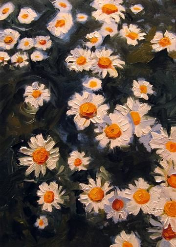 """Painting titled """"Field of Daisies"""" by Kim Kibby, Original Art,"""