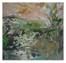 Donegal 1 - Malerei,  7,9x7,9 in, ©2005 von Kim Mc Elhinney -                                                                                                                                                                          Abstract, abstract-570, expressive landscape acrylics
