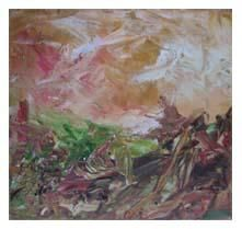 Donegal 3 - Malerei,  7,9x7,9 in, ©2005 von Kim Mc Elhinney -                                                                                                                                                                          Abstract, abstract-570, expressive landscape acrylics
