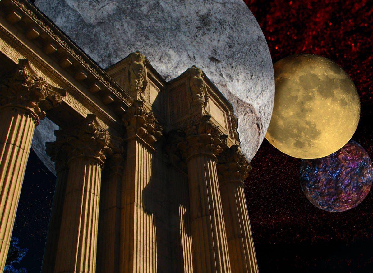 Three Sisters Of The Night - ©  threesistersofthenight.jpg; manipulated; lunar; Palace of Fine Arts; Photoshop Online Artworks