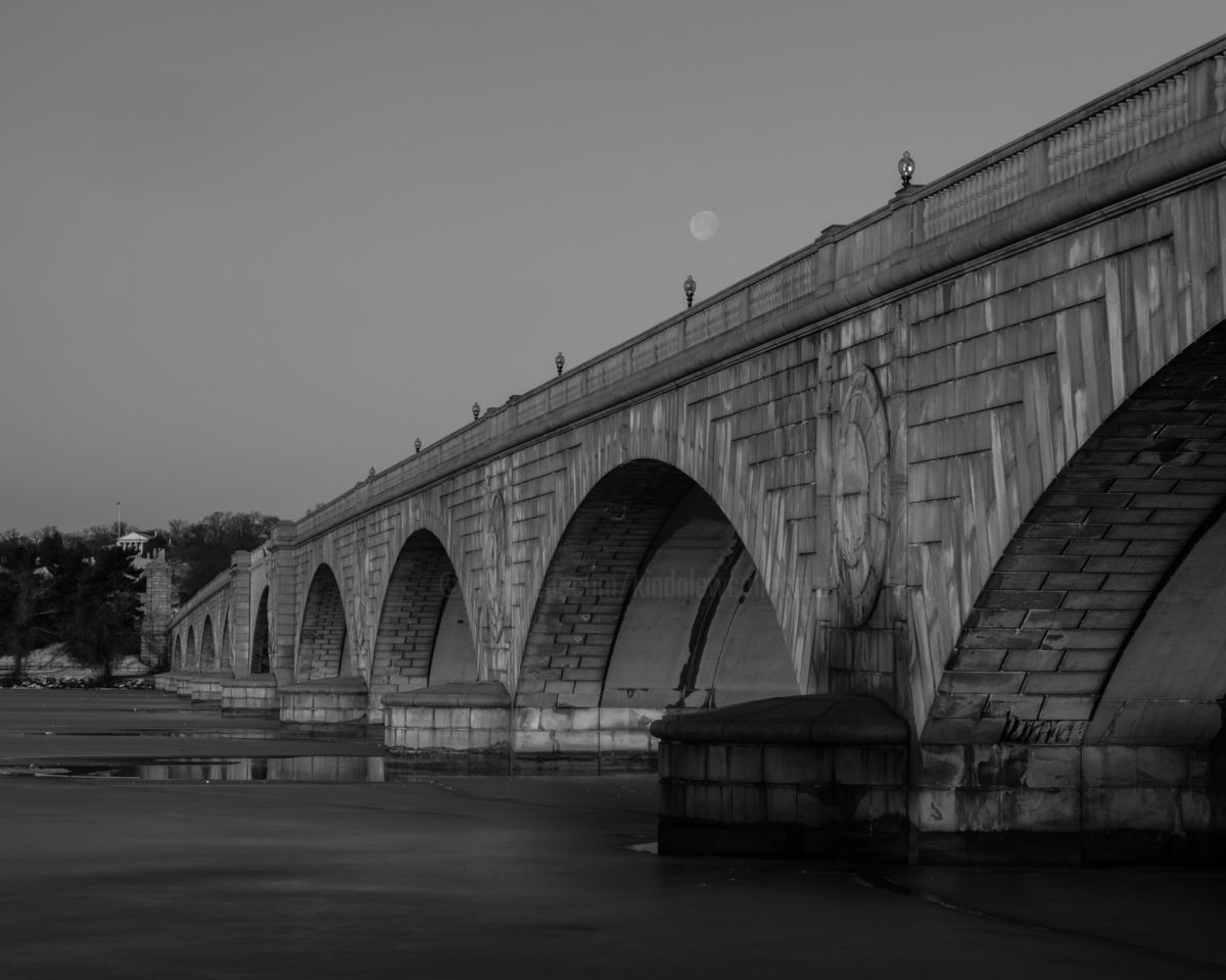 Moon over Memorial Bridge - ©   Online Artworks