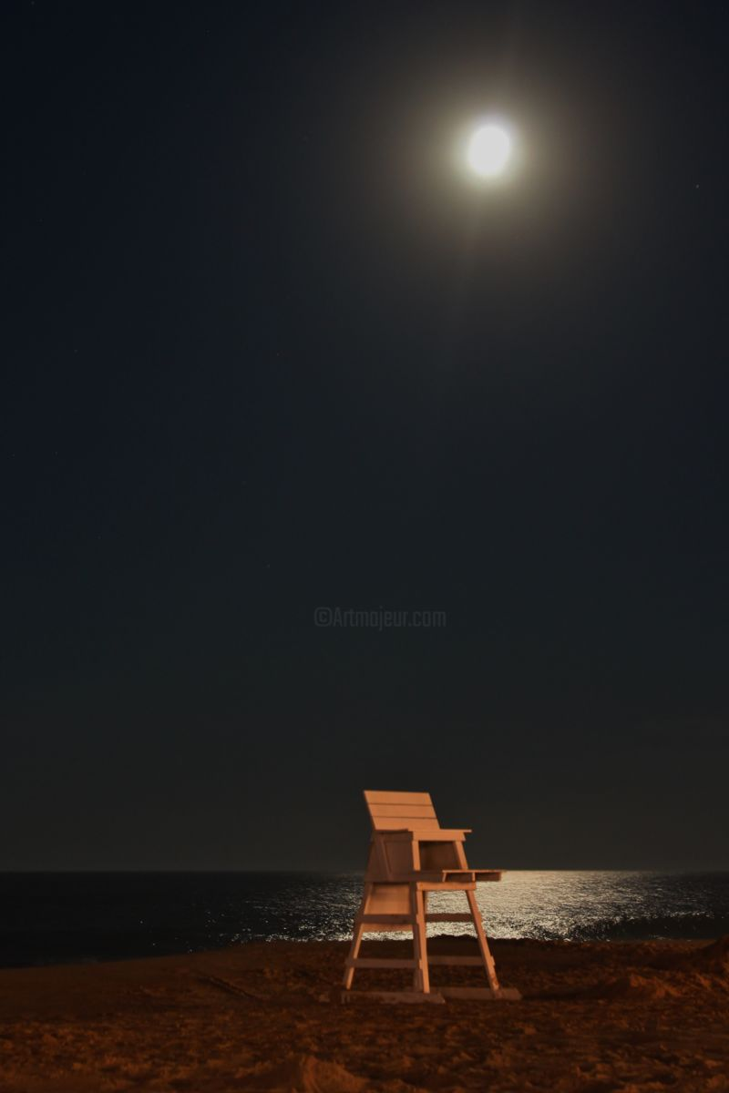 Illuminated - Photography,  14x11 in ©2017 by Elke Matthaeus -                                                            Environmental Art, Paper, Beach, Moonlight, Beach Chair, Water