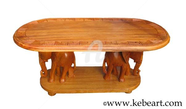 table basse avec l phant kebe. Black Bedroom Furniture Sets. Home Design Ideas