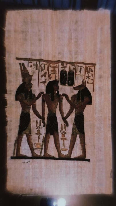 """Painting titled """"Egyptian handmade p…"""" by Pusca Konstance, Original Art, Pigments"""