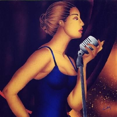 Jazz Singer - Painting,  70x70x2 cm ©2006 by Kino Mistral -                                                                Figurative Art, Contemporary painting, Women, Music