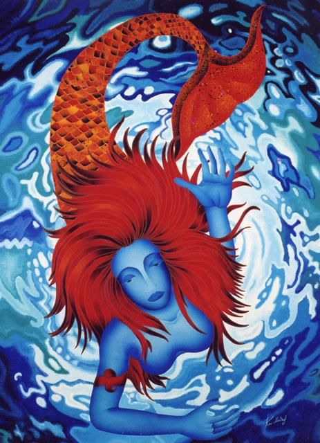 Blue Sirena - Painting,  59.1x43.3 in, ©2004 by Kino Mistral -                                                              Blue Sirena; Blue Sirena; Blue Sirena; Blue Sirena; Blue Sirena; Blue Sirena; Blue Sirena; Blue Sirena; Blue Sirena