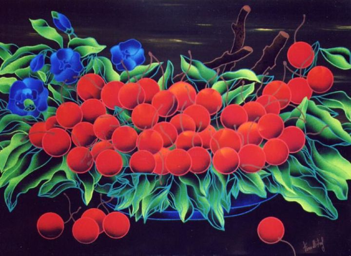 Ciliege Rosse - Painting,  23.6x31.5 in, ©2006 by Kino Mistral -