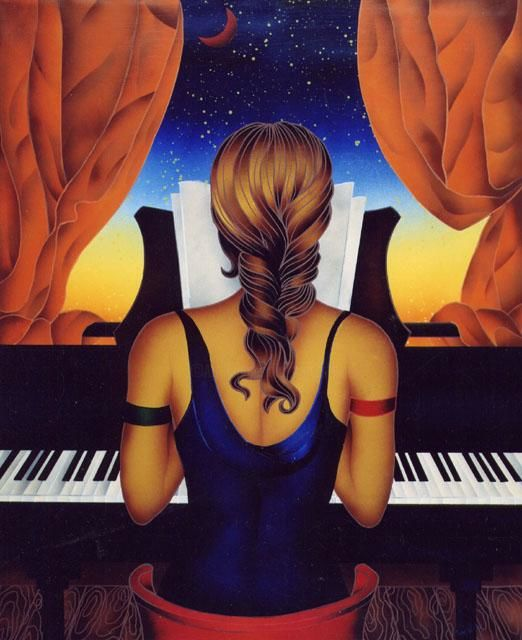 La Pianista - Painting,  100x90x2 cm ©2006 by Kino Mistral -                                                        Figurative Art, Women, Music, pianista