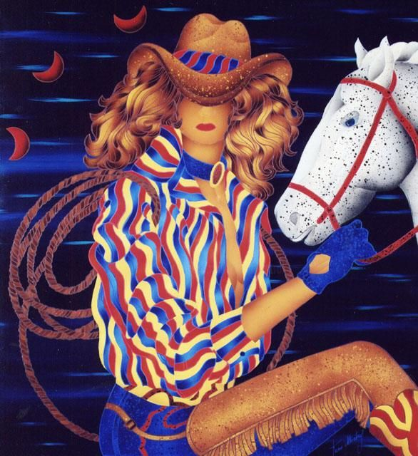 Rodeo con Cavallo Bianco - Pittura,  39,4x35,4x0,8 in, ©2003 da Kino Mistral -                                                                                                                                                                                                                      Figurative, figurative-594, artwork_cat.Horses, Donne