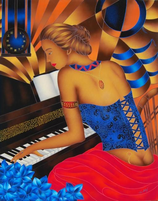 La Pianista - Tempo di Musica - Painting,  100x80x2 cm ©2008 by Kino Mistral -                                                                Figurative Art, Contemporary painting, Women, Music