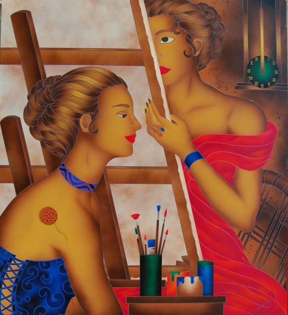 Pittrice e Modella - Painting,  39.4x35.4 in, ©2008 by Kino Mistral -