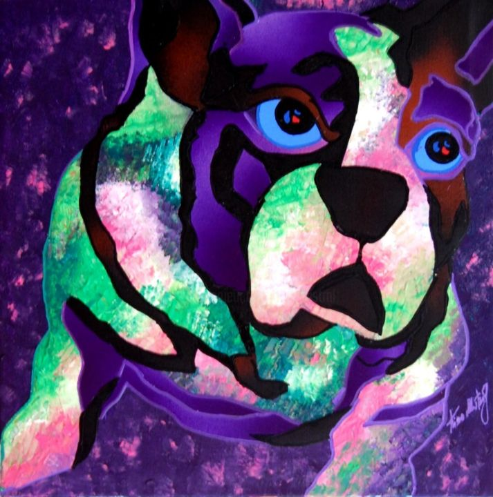 Violet Bulldog - Painting,  30x30x2 cm ©2015 by Kino Mistral -                                        Contemporary painting, Dogs