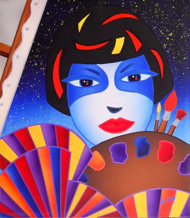 La Pittrice Colorata - Painting,  40x35 cm ©2015 by Kino Mistral -            coloured art kino mistral