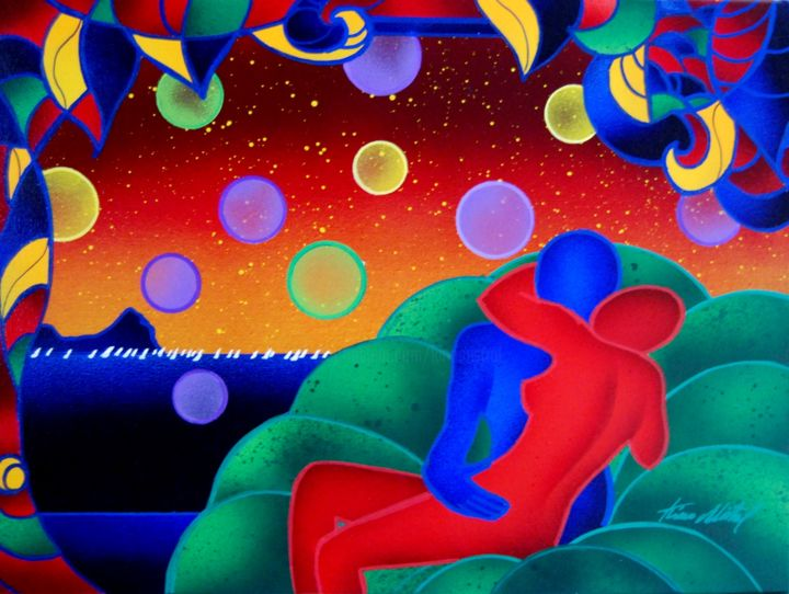 Love on the Sea - Painting,  30x40 cm ©2015 by Kino Mistral -                        Contemporary painting