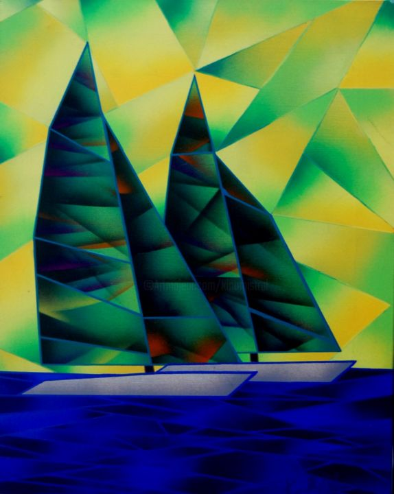 Green Regata - Painting ©2015 by Kino Mistral -