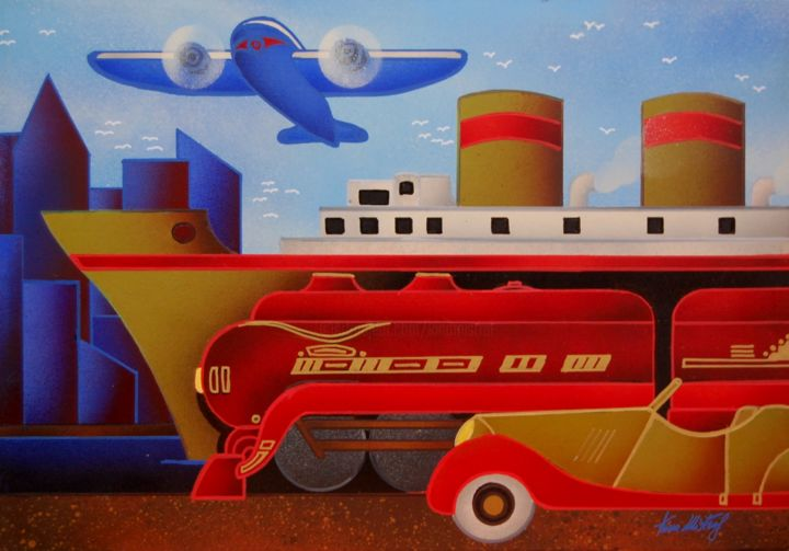 Voyage Vintage - Il Treno Rosso - Painting ©2015 by Kino Mistral -