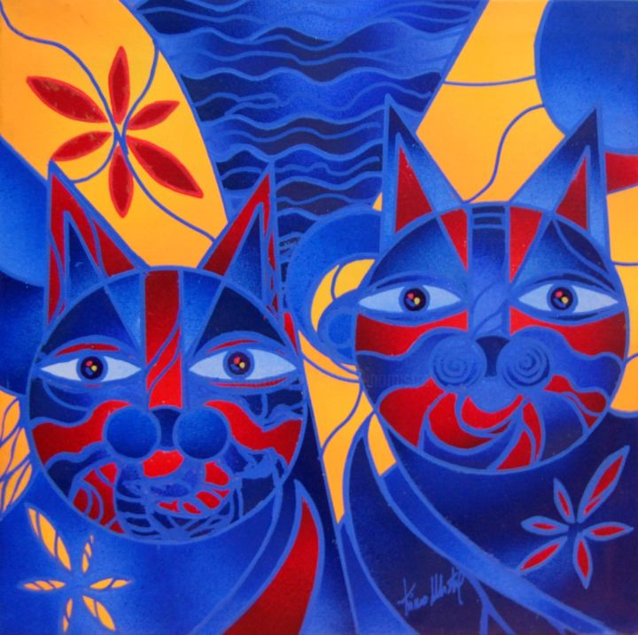 Blue & Red Cats - Painting,  30x30x2 cm ©2015 by Kino Mistral -