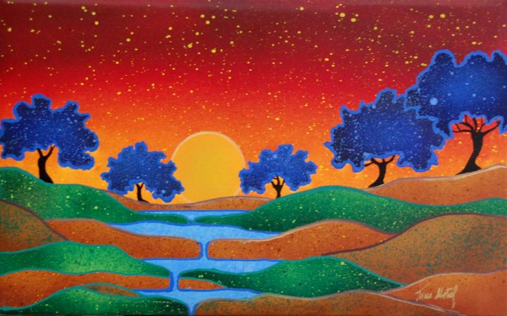 Alberi Blu - Painting,  25x40x2 cm ©2015 by Kino Mistral -                                        Environmental Art, Landscape