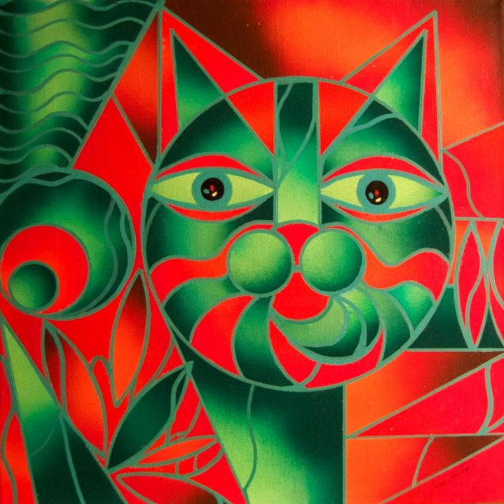 Red & Green Cat - Painting,  30x30x2 cm ©2015 by Kino Mistral -                                        Figurative Art, Cats