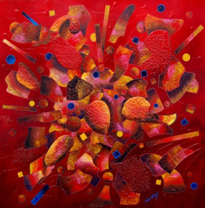 Modulazioni di Energia -  Red - Painting,  35.4x35.4x0.8 in, ©2015 by Kino Mistral -                                                                                                                          Abstract, abstract-570