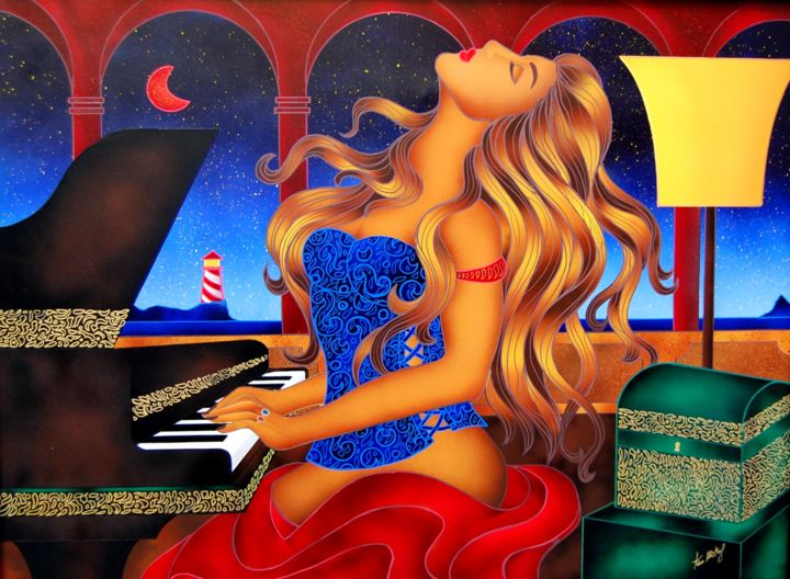 La Pianista - Profonda Inspirazione - Painting,  90x120x2 cm ©2015 by Kino Mistral -                                                                Figurative Art, Contemporary painting, Women, Music