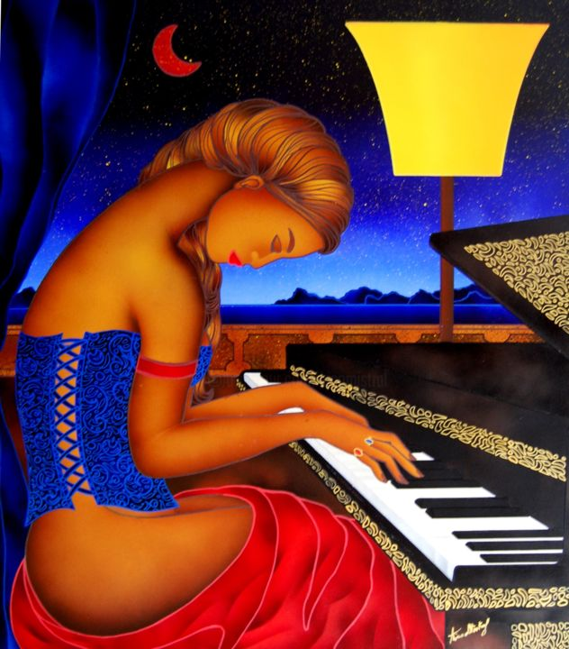 La Pianista - Notturno sul Mare - Painting,  90x80x2 cm ©2015 by Kino Mistral -                                                                Figurative Art, Contemporary painting, Women, Music