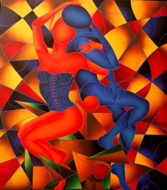 Love Red&Blue - Omaggio a Kostabi - Painting, ©2015 by Kino Mistral -