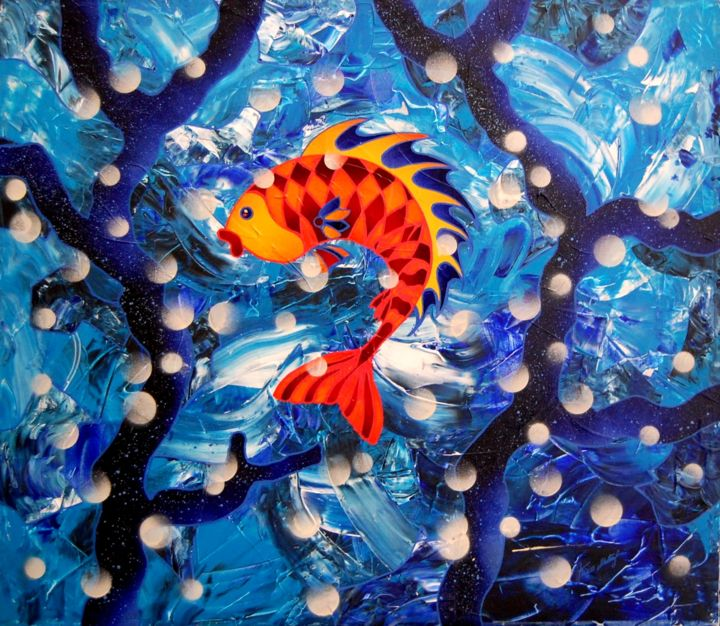Tra i Coralli Blu - Painting,  27.6x31.5 in, ©2015 by Kino Mistral -                                                              Animals