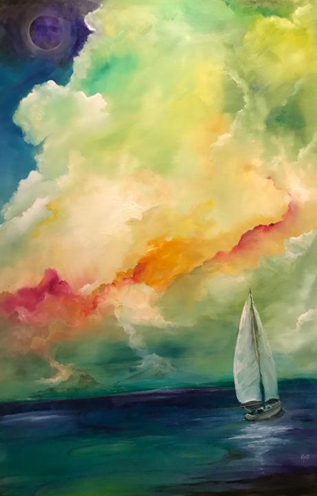 Pele's Song - Painting,  36x24x1 in ©2017 by Kirk Ruse -                                                                                                            Contemporary painting, Canvas, Colors, Nature, Sailboat, Seascape, Water, volcano, sailboat, sunset, seascape