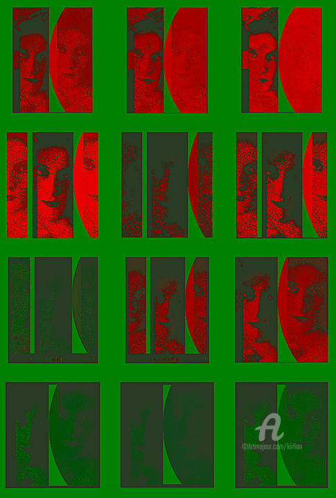 Faces/ Red'n'Green - Digital Arts,  80x60 cm ©2018 by Kirlian -                                                                                Figurative Art, Love / Romance, Angels, Body, Women, Mosaïque, Femmes, Androgyne, Mur Photo, Panneau Photo