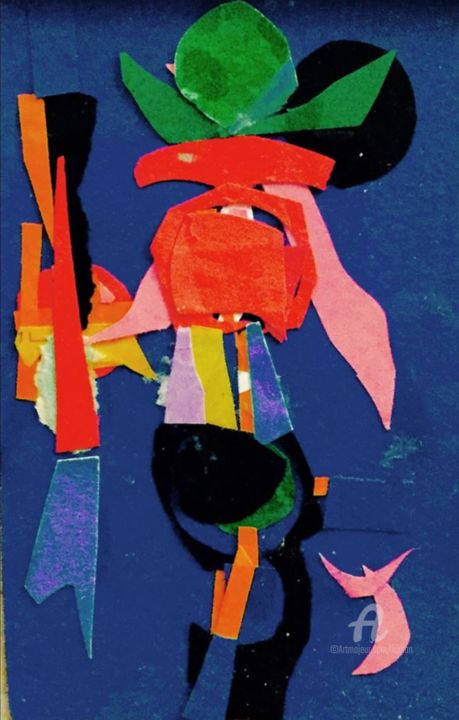 Cow-boy Kiss - Mixed Media,  13x9x0.01 cm ©1993 by Kirlian -                                                                                    Outsider Art, Abstract Art, Fauvism, Paper, Abstract Art, couleur, lumiere, Matisse