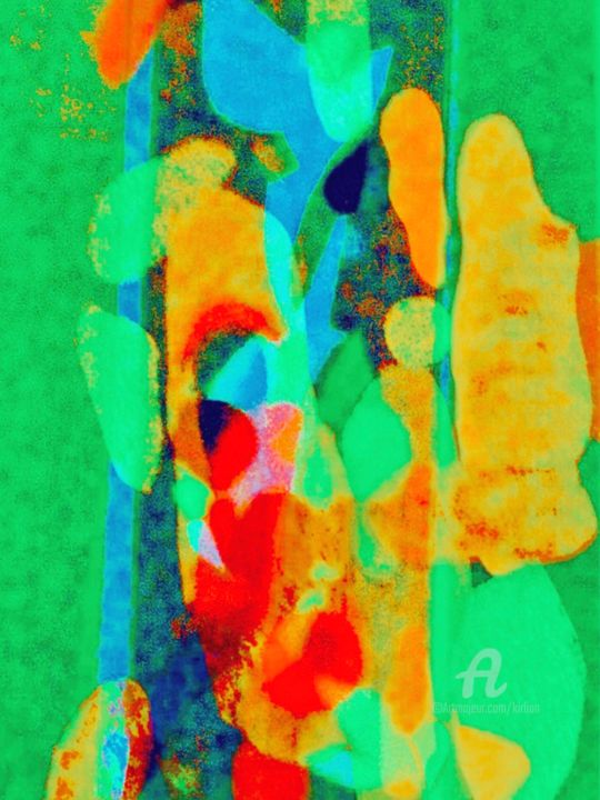 Métamorphoses - Painting,  31.5x23.6x0.2 in ©2019 by Kirlian -                                                                                            Abstract Art, Contemporary painting, Pop Art, Abstract Art, Performing Arts, Colors, enfance, art abstrait, collage, figurine