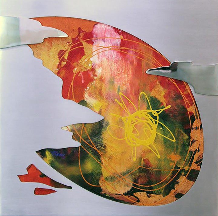 Sunkissed - Painting,  23.6x23.6x1.6 in, ©2005 by Vasco Kirov -                                                                                                                                                                                                                                                                                                                                                              Abstract, abstract-570, Abstract Art, sun, warm color abstract, square abstract, steel and oil painting
