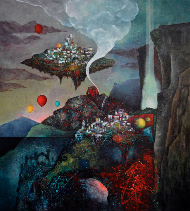 Through Time and Space - Painting,  52.4x47.2x1.6 in, ©2017 by Vasco Kirov -                                                                                                                                                                                                                                                                                                                                                              Surrealism, surrealism-627, Fantasy, Landscape, Mystery landscape, Dark landscape, Fantasy landscape