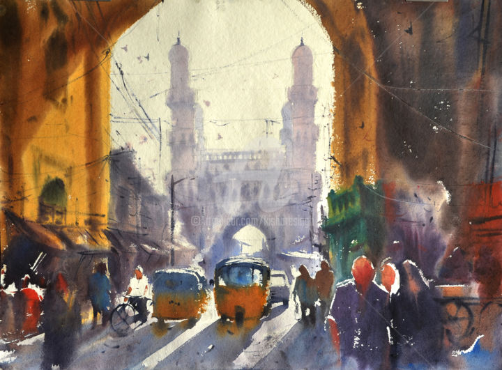 morning at charminar.jpg - Painting,  8.7x11.8x118.1 in, ©2019 by Kishore Singh -                                                                                                                                                          Cities, Charminar kishoresingh, indian watercolor
