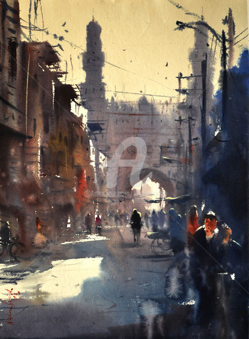 Lad Bazar-Charminar. India Hyderabad. - Painting,  11.8x8.7x118.1 in, ©2019 by Kishore Singh -                                                                                                                                                                                                      Water, Indian Artist, watercolor, charminar