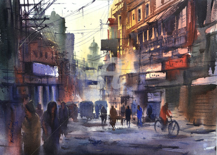 Varanasi_Street - Painting,  22x30 in ©2015 by Kishore singh -                                                            Environmental Art, Paper, Cities, kishore, art