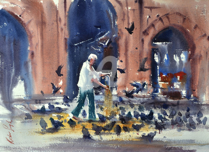 pigeon-feeding-mojam-jahi-market.Hyderabad - Painting,  22x30 cm ©2015 by Kishore singh -                                                            Environmental Art, Paper, Cities, Hyderabad watercolor painting