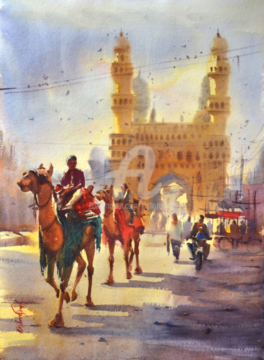 camel-near-the-charminar.jpg - Painting,  30x22 in ©2015 by Kishore singh -                                                            Environmental Art, Paper, Animals, Charminar watercolor