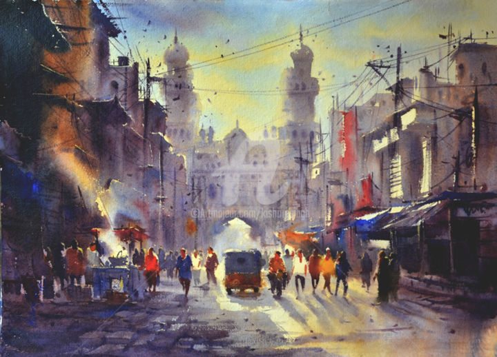 early-morning-at-charminar01.jpg - Painting,  22x30 in, ©2015 by Kishore Singh -                                                                                                              Cities, Charminar