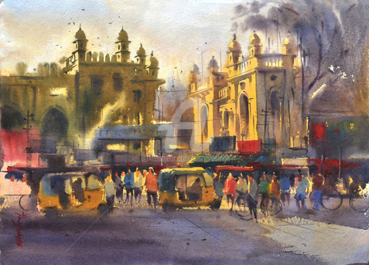 early-morning-old-city01-hyderabad.jpg - Painting,  22x30 in ©2015 by Kishore singh -                                                            Environmental Art, Paper, Cities, Hyderabad