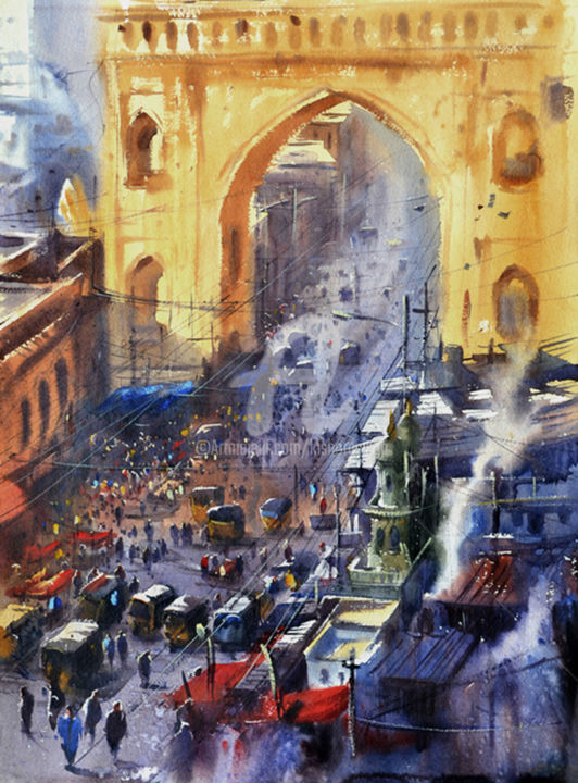 city-gate-viewed-from-charminar01.jpg - Painting,  30x22 in, ©2015 by Kishore Singh -                                                                                                              Cities, Charminar painting
