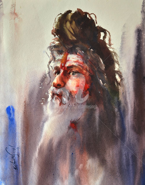 sadhus-holy-men-of-varanasi-india-copy.jpg - Painting,  30x22 in ©2015 by Kishore singh -                                                            Portraiture, Paper, People, kishoresingh art