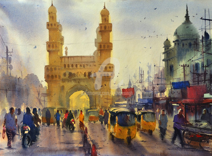 early-morning-charminar-hyderabad01.jpg - Painting ©2015 by Kishore singh -                                                            Environmental Art, Paper, Cities, kishore singh