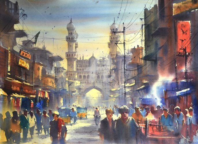 charminar-life-is-colourfull-waercolor-on-paper-size-22x30-inch-sold.jpg - Painting,  22x30 in, ©2015 by Kishore Singh -                                                                                                                                                          Cityscape, Charminar, kishoresingh