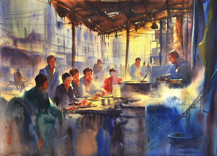 Hyderabad, breakfast-kiosk.jpg - Painting,  8.7x11.8 in, ©2015 by Kishore Singh -                                                                                                              Food & Drink, Hyderabad painting